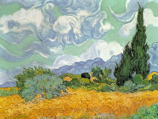 Wheatfield with Cypresses, 1889-Vincent van Gogh-Premium Giclee Print