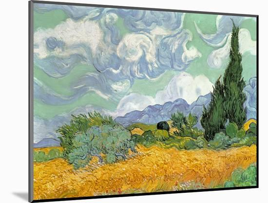 Wheatfield with Cypresses, 1889-Vincent van Gogh-Mounted Premium Giclee Print