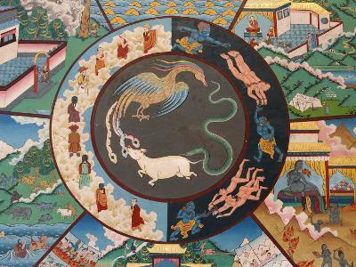 Wheel of Life Showing Rooster, Snake and Pig, Kopan Monastery, Kathmandu-Godong-Photographic Print