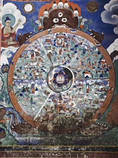 Wheel of Life Wall Art, Hemis Gompa (Monastery), Hemis, Ladakh, Indian Himalaya, India-Jochen Schlenker-Photographic Print