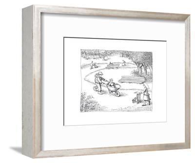 Wheelbarrow stroller - Cartoon-John O'brien-Framed Premium Giclee Print