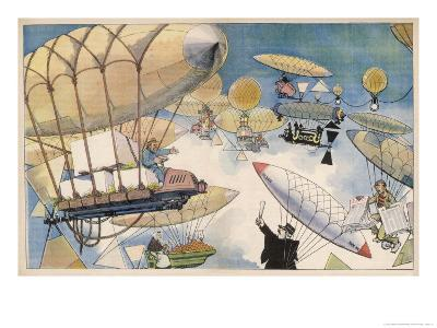 When Air Travel Becomes Popular the Sky Routes Will Become as Crowded as Those on the Surface-Albert Guillaume-Giclee Print