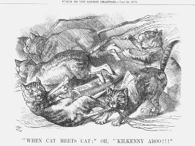 When Cat Meets Cat or Kilkenny Aboo!!!, 1879-Joseph Swain-Giclee Print