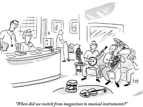 When Did We Switch From Magazines To Musical Instruments New Yorker Cartoon Premium Giclee Print Bob Eckstein Art Com
