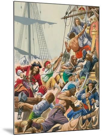 When Pirates Sailed the Seas, Blackbeard and His Pirates Attack-Peter Jackson-Mounted Giclee Print