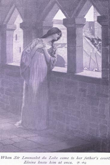 When Sir Launcelot Du Lake Came to Her Father's Court Elaine Knew Him at Once-William Henry Margetson-Giclee Print