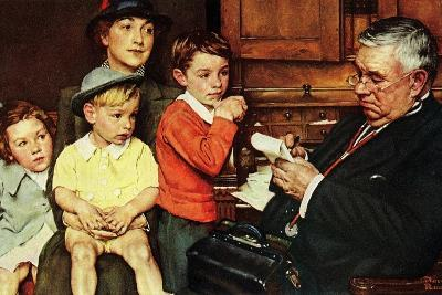 When the Doctor Treats Your Child (or Doctor Checking up Children)-Norman Rockwell-Giclee Print