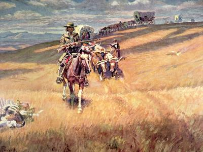 When Wagon Trails Were Dim-Charles Marion Russell-Giclee Print