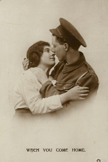 When You Come Home. a Soldier and His Swetheart--Photographic Print