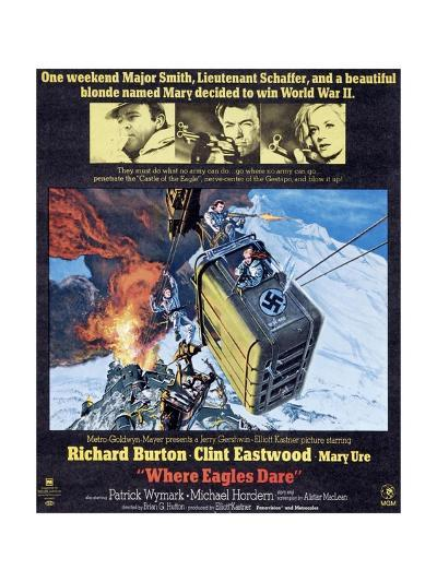 Where Eagles Dare, Top L-R: Richard Burton, Clint Eastwood, Mary Ure on Poster Art, 1968--Giclee Print
