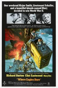 Where Eagles Dare, US poster, Richard Burton, Clint Eastwood, Mary Ure, 1968