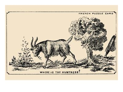 Where Is the Huntress?- French Puzzle Card-Art Print