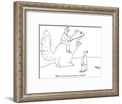"""Where's the nearest walnut station?"" - New Yorker Cartoon-Peter Mueller-Framed Premium Giclee Print"