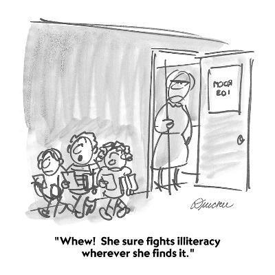 """Whew!  She sure fights illiteracy wherever she finds it."" - Cartoon-Boris Drucker-Premium Giclee Print"
