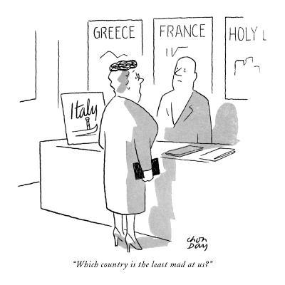 """""""Which country is the least mad at us?"""" - New Yorker Cartoon-Chon Day-Premium Giclee Print"""