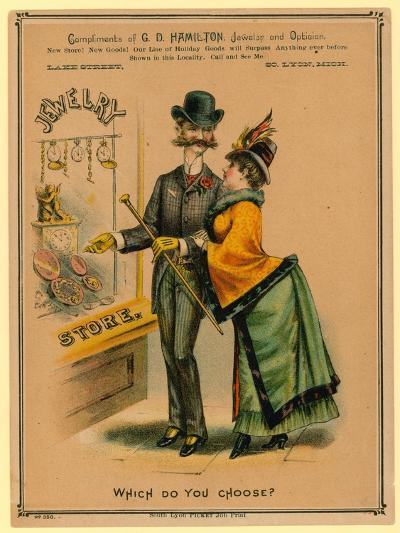 Which Do You Choose? Advertisement for Jewelry Store--Giclee Print