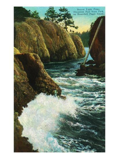 Whidbey Island, Wa - Deception Pass State Park View of Beacon Light Point on Puget Sound, c.1928-Lantern Press-Art Print
