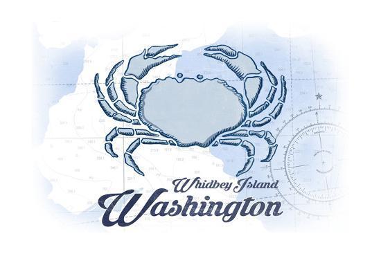 Whidbey Island, Washington - Crab - Blue - Coastal Icon-Lantern Press-Art Print