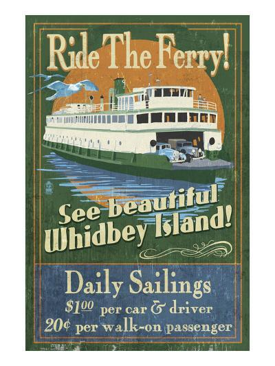 Whidbey Island, Washington - Ferry-Lantern Press-Art Print
