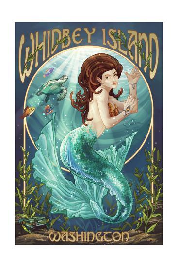 Whidbey Island, Washington - Mermaid-Lantern Press-Art Print