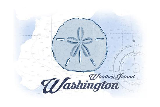 Whidbey Island, Washington - Sand Dollar - Blue - Coastal Icon-Lantern Press-Art Print