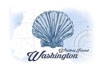Whidbey Island, Washington - Scallop Shell - Blue - Coastal Icon-Lantern Press-Art Print