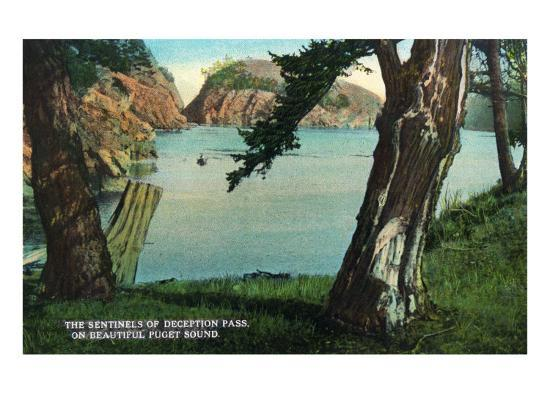 Whidbey Island, Washington - View of the Sentinels of the Pass from Puget Sound, c.1928-Lantern Press-Art Print