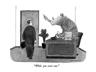 """""""While you were out."""" - New Yorker Cartoon-Danny Shanahan-Premium Giclee Print"""