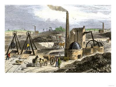 Whimsey Engine Drawing Coal in the Staffordshire Mines, England, c.1850--Giclee Print