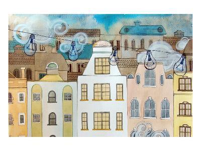 Whimsical City & Light Bulbs--Art Print