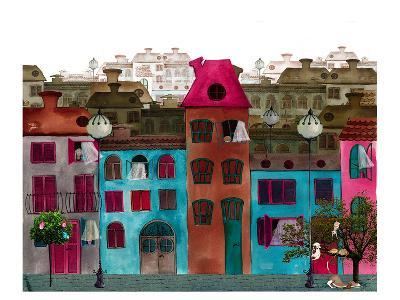 Whimsical Colorful City Street--Art Print