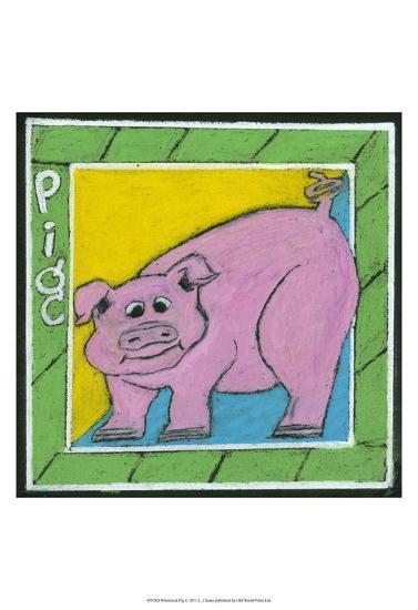 Whimsical Pig--Art Print