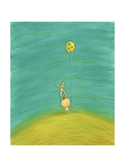 Whimsical Rabbit with Striped Ears Holding Green Spotted Balloon--Art Print