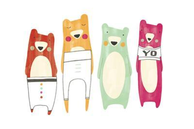 Whimsical-Style Bears Wearing Pants and T-Shirt