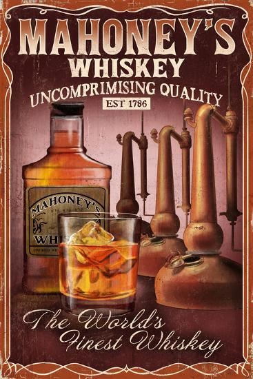 Whiskey - Vintage Sign-Lantern Press-Art Print