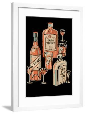 Whiskey, Wine & Gin--Framed Art Print