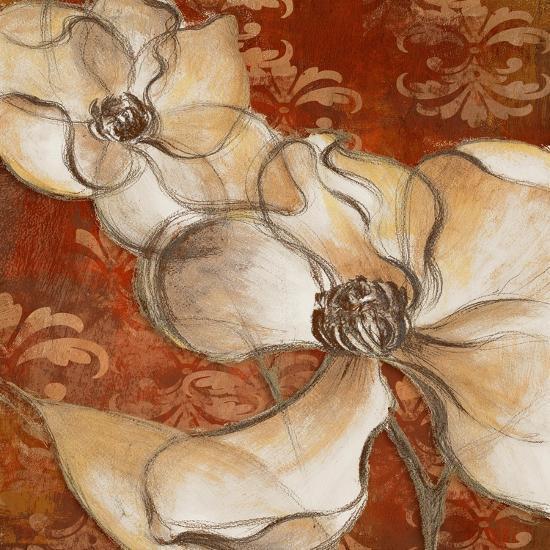 Whispering Magnolia on Red II-Lanie Loreth-Art Print