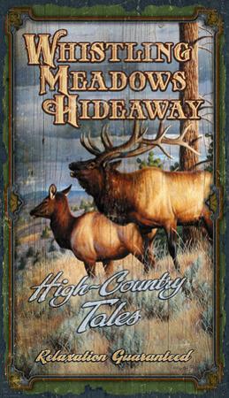 Whistling Meadows Hideaway Vintage Wood Sign