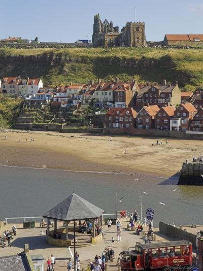 Whitby Abbey, Sandy Beach and Harbour, Whitby, North Yorkshire, Yorkshire, England-Neale Clarke-Photographic Print