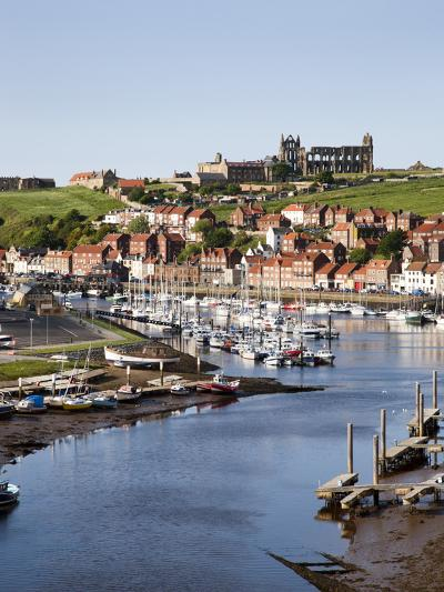 Whitby and the River Esk from the New Bridge, Whitby, North Yorkshire, Yorkshire, England, UK-Mark Sunderland-Photographic Print