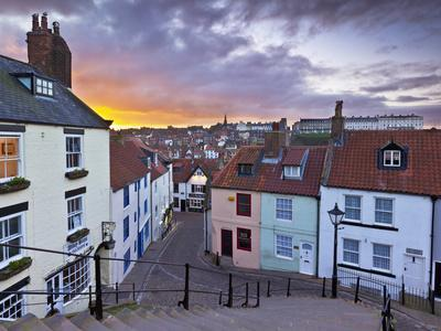 Whitby Town Houses at Sunset from the Abbey Steps, Whitby, North Yorkshire, Yorkshire, England, Uni-Neale Clark-Photographic Print
