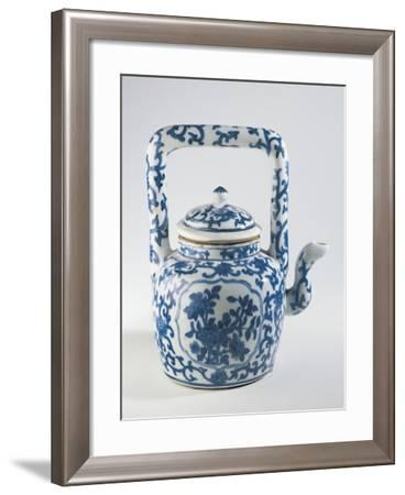 White and Blue Ceramic Collectible Teapot--Framed Giclee Print