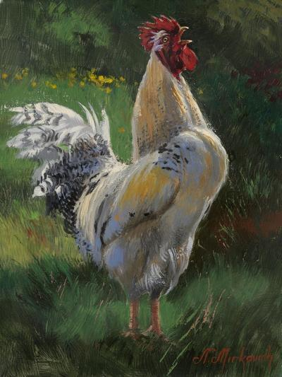 White And Yellow Rooster-Nenad Mirkovich-Premium Giclee Print