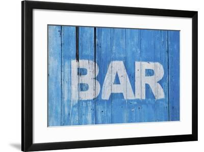 White Bar Sign Painted On A Dilapidated Blue Wooden Wall-Dutourdumonde-Framed Art Print