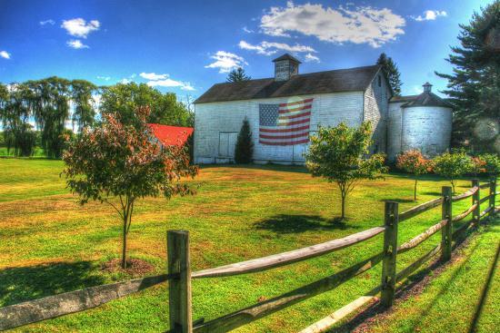 White Barn and Flag-Robert Goldwitz-Photographic Print