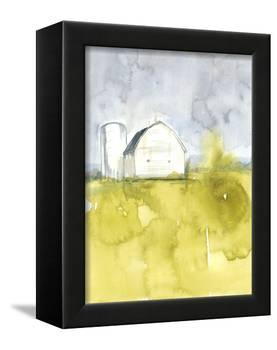 White Barn on Citron II-Jennifer Goldberger-Framed Stretched Canvas