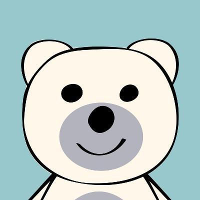 White Bear Funny Cartoon Animal Toy-Elena Kozyreva-Art Print