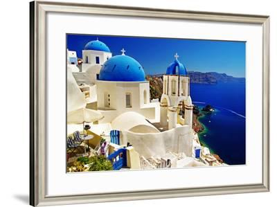 White-Blue Santorini - View of Caldera with Churches-Maugli-l-Framed Photographic Print