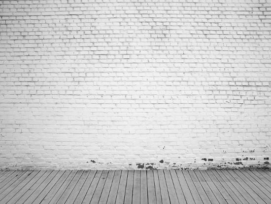 White Brick Wall And Wood Floor Background Photographic Print Vitaliy Pakhnyushchyy Art Com