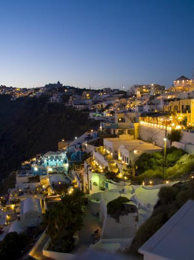 White Buildings at Night, Fira, Santorini, Greece-Bill Bachmann-Photographic Print